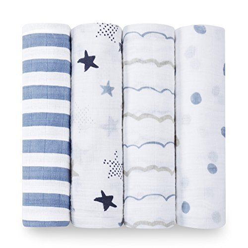 - aden + anais Classic Swaddle Baby Blanket, 100% Cotton Muslin, Large 47 X 47 inch, 4 Pack, Rock Star, Blue