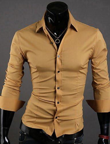 HAN-NMC sólido del Hombre Casual/Trabajo/Formal,Camiseta de ...