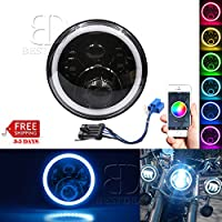 Belt&Road 7 Inch RGB Halo LED Headlight for 2014-2017 Harley Davidson Sportser Motorcycle,Hi-Lo Beam Daymaker, Cellphone Bluetooth Remote Controlled RGB Angel Eye