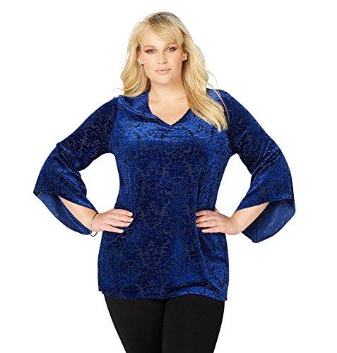 Avenue Women's Velvet Burnout Bell Sleeve Top, 18/20 Blue