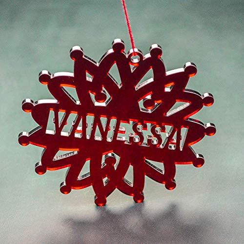 PERSONALIZED ACRYLIC ORNAMENTS // Personalized Christmas Decoration Handmade - Custom Name Snowflake Ornament - Red Acrylic Snowflake ()