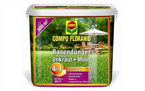 COMPO FLORANID Rasendünger gegen Unkraut + Moos 4in1 9 kg