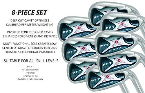 PFT X9 High Moi Extreme 9 Iron Set Golf Clubs Custom Made Right Hand Stiff S Flex Steel Shafts Complete Mens Irons Ultra Forgiving OS Oversized Wide Sole Ibrid Club by PFT X9