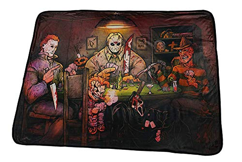 TV Movie Fashion Pop Culture Soft Cozy Fleece Throw Blanket Bedding (Big Chris Art: Slashers Playing Poker)