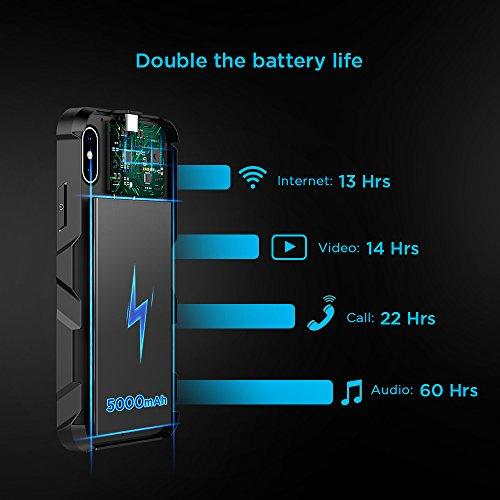 EasyAcc Wireless Battery Case for iPhone X, 5000 mAh Extended Battery Charger Case for iPhone 10 - Black by EasyAcc (Image #5)