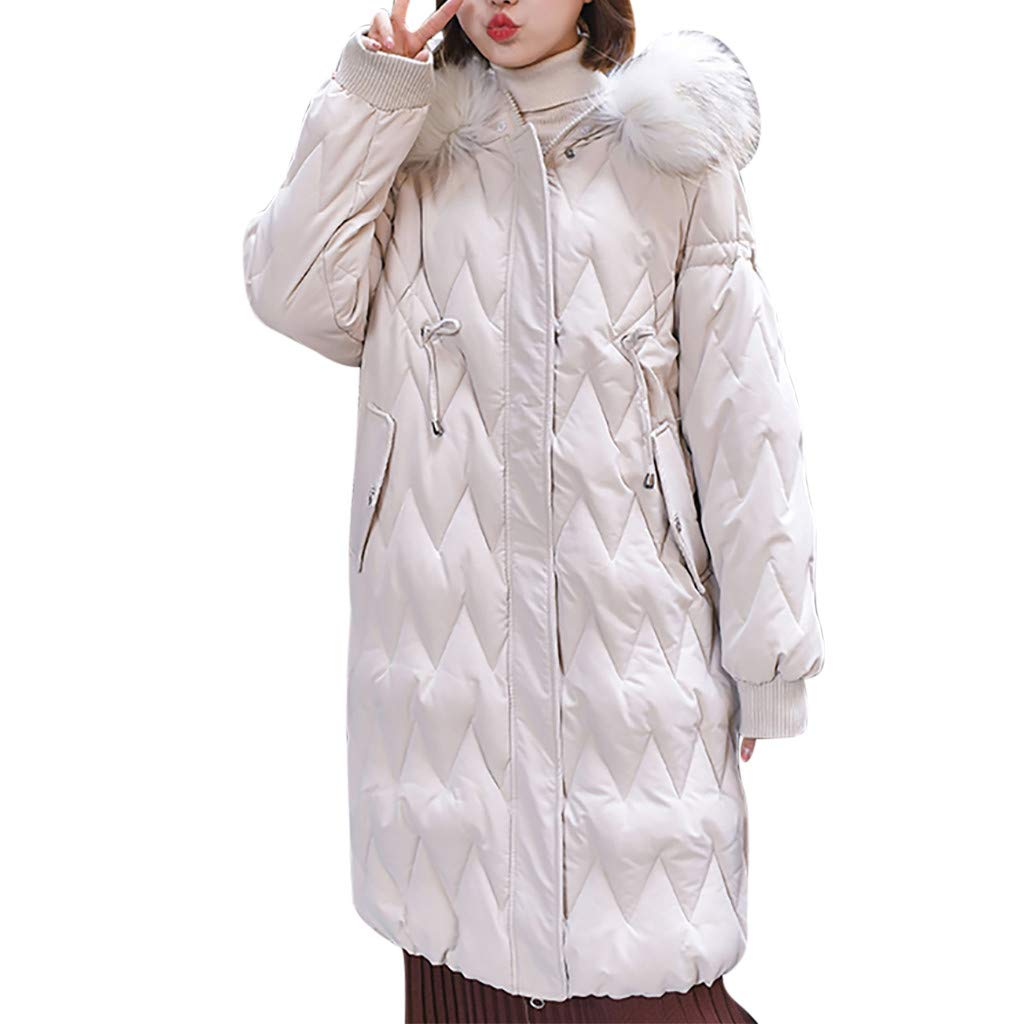 LUKALUKADA Women's Casual Fur Collar Loose Hooded Jacket Thicker Bread Clothing Winter Overcoat White by LUKALUKADA