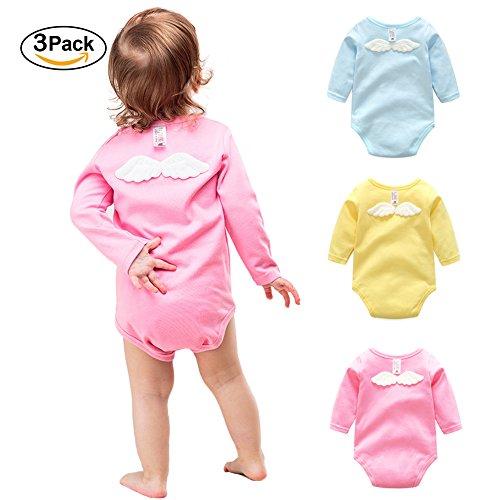 Girl Onesies Baby Longsleeve Newborn T-shirt Angel Wings 100% Cotton Gift 3 Pack Infant Bodysuit(9-12) (Angel Toddler Kids Clothing)