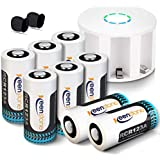 RCR123A Rechargeable Batteries, Keenstone 8PCS 3.7v 750mAh Rechargeable Li-ion Battery with 8-Slot Charger for Arlo VMS3030/3230/3330/3430 Cameras