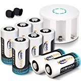 Keenstone RCR123A Rechargeable Batteries and Charger, 8Pcs 3.7v Li-ion 750mAh Rechargeable Camera Batteries for Arlo VMS3030/3230/3330/3430 Cameras