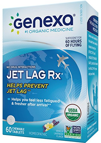 Genexa Jet Lag Homeopathic Relief: Certified Organic, Physician Formulated, Natural, Non-GMO, Jet Lag Flight Fatigue Remedy. Helps You Feel Less Fatigued & Fresher After Arrival (60 Chewable - Lag Ingredients Jet No