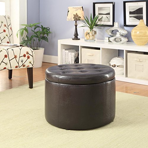 Convenience Concepts Designs4Comfort Modern Round Shoe Ottoman, Espresso by Convenience Concepts (Image #3)