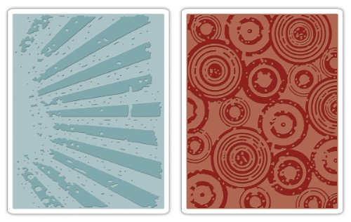 Sizzix Texture Fades Embossing Folders 2PK - Rays & Retro Circles Set by Tim Holtz by Sizzix