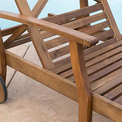 Great Deal Furniture Thalia Outdoor Teak Finished Acacia Wood Chaise Lounge (Set of 2) by Great Deal Furniture (Image #5)