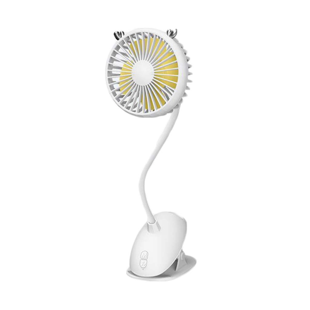 LMMNFS Baby Stroller Fan, Mini Fan, Clip-on Silent Baby Stroller USB Mini Small Fan, Cute Charging Student Dormitory Bed with Portable Vertical Fan, Battery Life for 8 Hours, with Three Gears of Wind