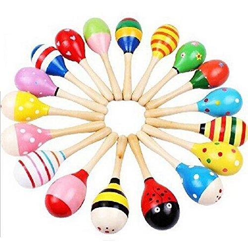 Small Maracas (Goodplay 2 Pcs Maracas Baby Toys Small Wooden Maracas Rattle Shakers Egg Handbell Musical Educational, Party Favor Kid Baby Shaker Sand Hammer Toy (Random Color Pattern))