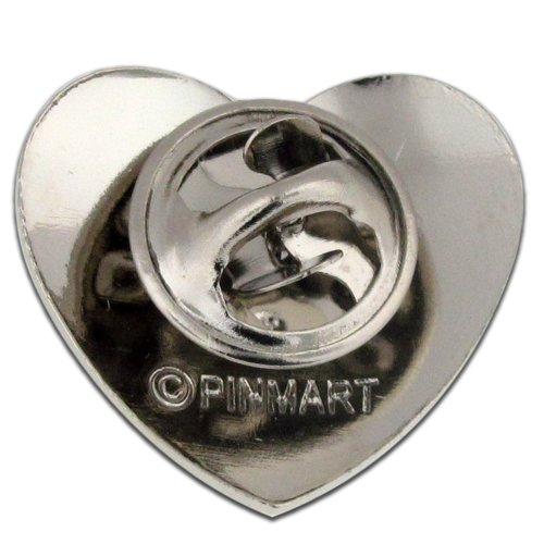 PinMart's Classic Shiny Silver Heart Valentine's Day Lapel Pin by PinMart (Image #2)