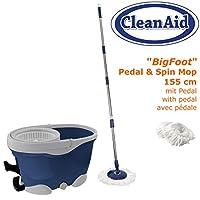CleanAid® BigFoot Wischmop Microfaser Wischsystem ★ extra langer Stiel ★ mit...