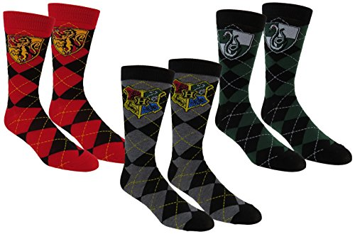Harry Potter Mens Slytherin & Gryffindor Casual Crew Socks 3Pack, Black/Red/Green, One Size 10-13 (Shoe Sizes (Harry Potter Shop)