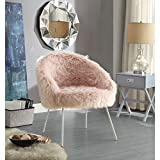 Ana Rose Fur Accent Chair – Metal Legs | Upholstered | Living Room, Entryway, Bedroom | Inspired Home For Sale