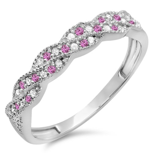 Dazzlingrock Collection 14K White Diamond & Pink Sapphire Wedding Stackable Band Swirl Ring, White Gold, Size 9