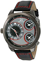 Joshua & Sons Men's JS88RD Black Triple Time Zone Quartz Watch With Red Accented Black Dial and Black Leather Strap