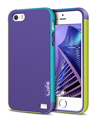LoHi Case for iPhone 5s/5/Se, [Extra Front Raised Lip] Hybrid Impact 3 Color Shockproof Rugged Soft TPU Hard PC Bumper Cover - Purple