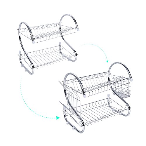 TOPINCN 2 Tiers Dish Drying Rack Home Washing Holder Basket