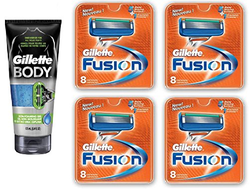 Gillette Body Non Foaming Shave Gel for Men, 5.9 Fl Oz + Fusion Refill Blades 8 Ct (4 Pack) + FREE Luxury Luffa Loofah Bath Sponge On A Rope, Color May Vary by GlLLETTE