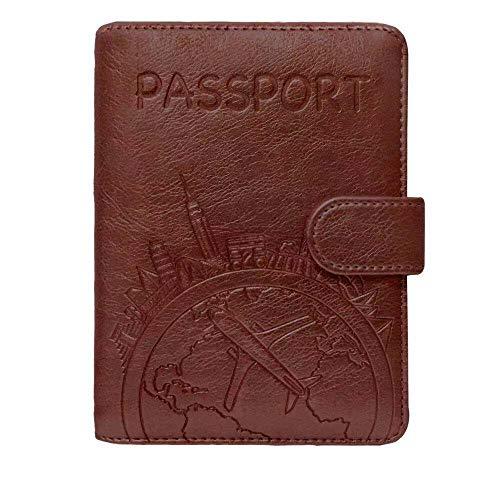 Passport Holder Leather Travel Wallet - RFID Blocking Passport Cover with...