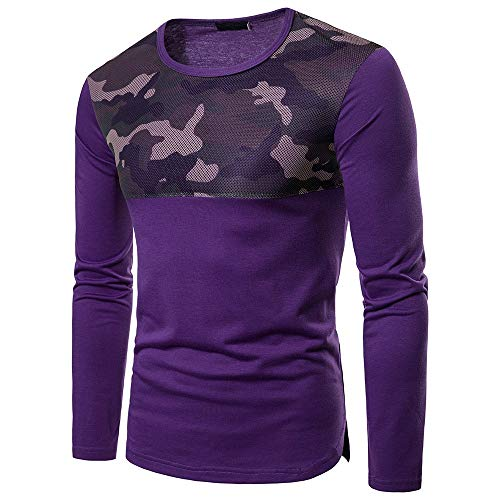 Realdo Clearance Mens Solid Camouflage Mesh Patchwork Slim T Shirt Pollover Top Sweatshirt(Medium,Purple) by Realdo