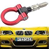 Dewhel JDM Aluminum Track Racing Front Rear Bumper Car Accessories Auto Trailer Ring Eye Towing Tow Hook Kit Screw On For BMW 1 3 5 Series X5 X6 E36 E39 E46 E82 E90 E91 E92 E93 E70 E71 MINI Cooper (Red)