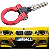 Dewhel JDM Aluminum Track Racing Front Rear Bumper Car Accessories Auto Trailer Ring Eye Towing Tow Hook Kit Red Screw On For BMW 1 3 5 Series X5 X6 E36 E39 E46 E82 E90 E91 E92 E93 E70 E71 MINI Cooper