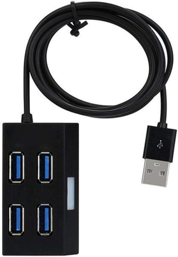 Portable Independent LED Light 4 Port USB 3.0 Hub Splitter for Phone Tablet PC White