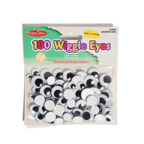 Creative Arts by Creative Arts by Charles Leonard Wiggle Eyes, Peel'n Stick, Black, Assorted Sizes, 100/Bag (64530)
