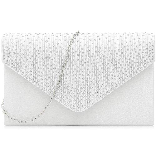 Milisente Evening Bag for Women, Glitter Rhinestone Wedding Evening Purse Crystal Envelope Crossbody Shoulder Clutch Bags (White)