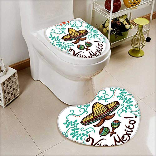 Collection Floral Sketch Print - L-QN 2 Piece Toilet Toilet mat Collection Mexico Style Sketch Floral Ornament Typography Decorating Hispanic Art Print Brown Mint Absorbent Cover