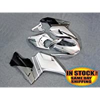 Matte Black w/Silver Grey Fairing Injection for 2007-2012 Ducati 848 1098 1198