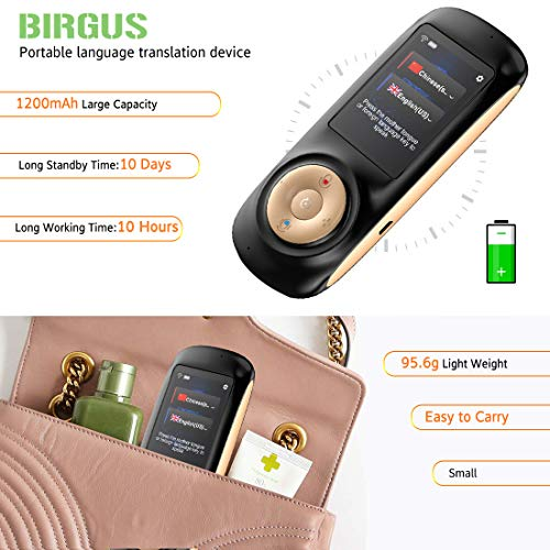 Instant Voice Language Translator Device,Smart Two Way WiFi 2.4inch Touch Screen Portable Translation for Learning Travel Business Shopping-Black by Birgus (Image #3)