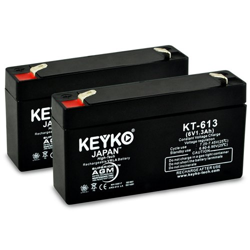 - National Power Corporation GS004T2 Replacement Battery 6V 1.2Ah/REAL 1.3Ah SLA AGM Rechargeable Genuine KEYKO (W/F1 Terminal) - 2 Pack