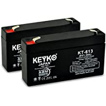 LEOCH DJW6-1.2 6V 1.2Ah / REAL 1.3Ah BACKUP BATTERY SLA Sealed Lead Acid AGM Rechargeable Replacement Battery Genuine KEYKO F1 2-Pack