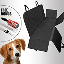 PuzPet Pet Dog Car Backseat Cover – Hammock Cover with Large Side Flaps Keeps Car & SUVs Cleaner than Ever - Waterproof, Nonslip, Machine Washable- BONUS Pet Hair Roller &Dog Seat Belt