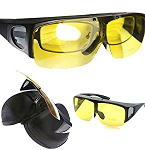 Agstum Fit Over Eyeglasses Polarized Night Driving Flip up Sunglasses Goggles