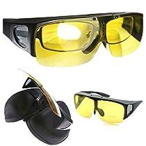 Agstum Wraparound Fit Over Eyeglasses Polarized Night Driving Flip up Sunglasses (Matte black, Yellow lens)