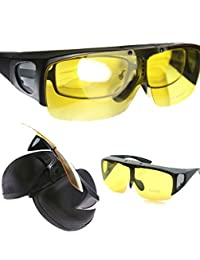 Agstum Wraparound Fit Over Eyeglasses Polarized Night Driving Flip up Sunglasses