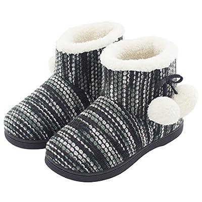HomeTop Women's Comfy Knit Plush Fleece House Bootie Slippers For Girls & Teens Cute Memory Foam Pom Pom Shoes Indoor, Outdoor