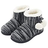 Women's Comfy Knit Plush Fleece House Bootie Slippers For Girls & Teens Cute Memory Foam Pom Pom Shoes Indoor, Outdoor