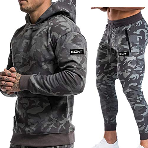 ESFHWYP Men Running Sport Suits Hoodies Pants Sets Sportswear Gyms Fitness Tracksuit