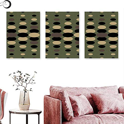 J Chief Sky Olive Green Wall hangings Retro Style Pattern with Geometric Circles Dotted Design Abstract Composition Triptych Art Multicolor Triptych Art Canvas W 24
