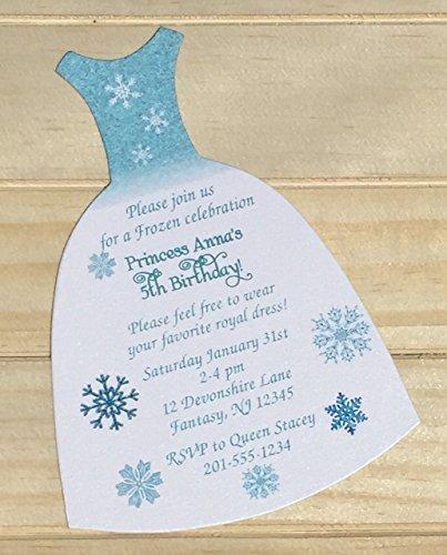 Set of 10 Girls Birthday Party Invitations Frozen Elsa Dress Birthday Party -