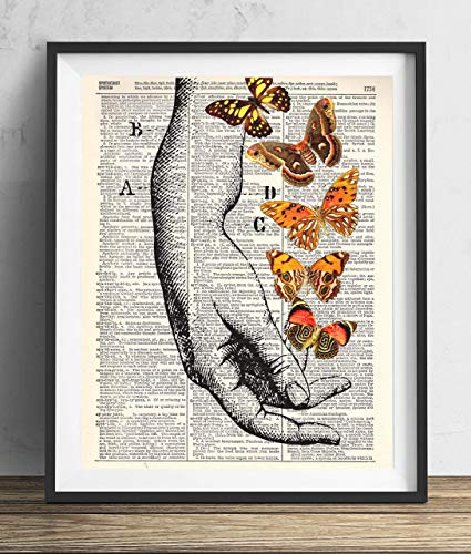 Hand With Butterflies (#1) Vintage Dictionary Art Print 8x10